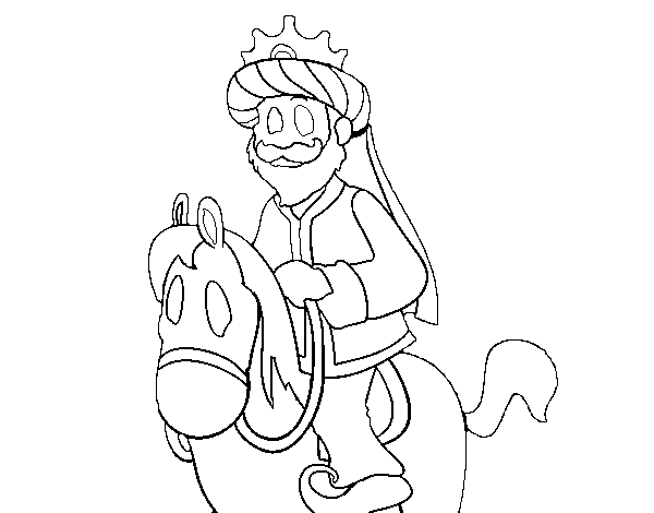 Caspar on horseback coloring page