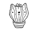 Cat cactus coloring page