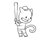 Cat hitter coloring page