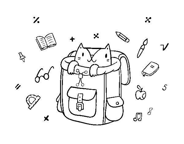 Cat in a backpack coloring page