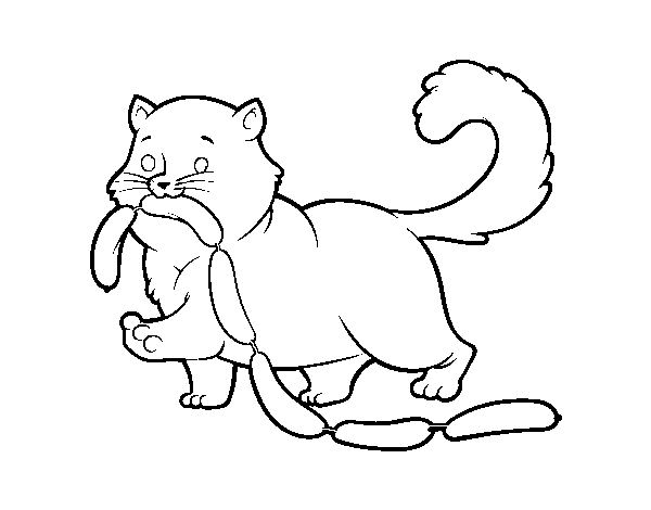 Cat with sausage coloring page