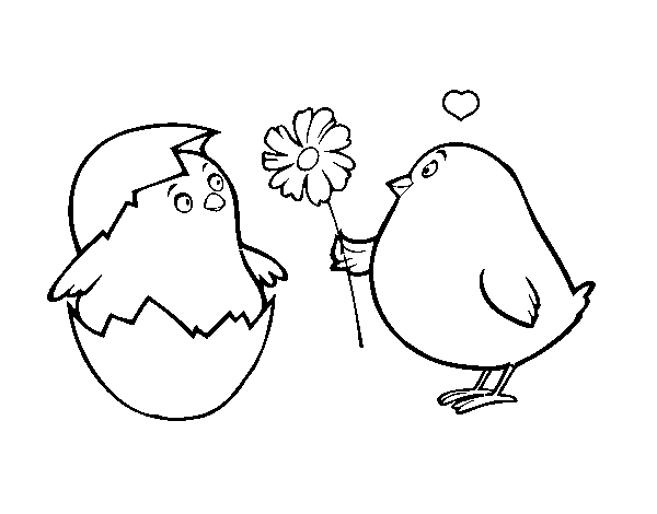 Chicks in love coloring page