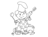 Child cook coloring page