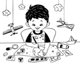 Child creativity coloring page
