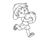 Child playing with beach ball coloring page