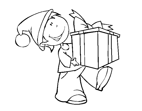 Child with present coloring page