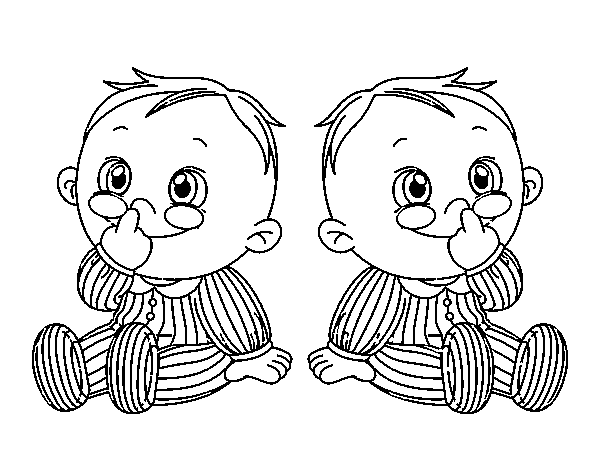 Children twins coloring page