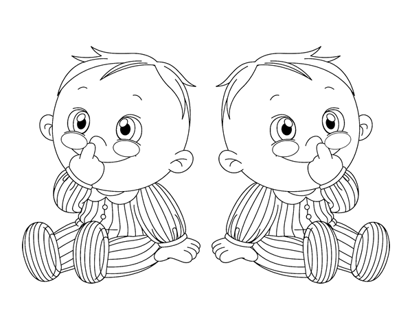 Children twins coloring page - Coloringcrew.com