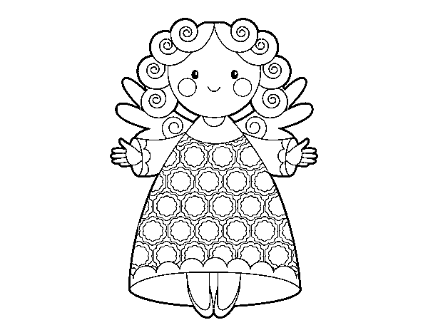 Christmas angel 2 coloring page