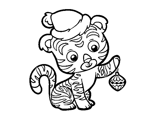 Christmas tiger coloring page
