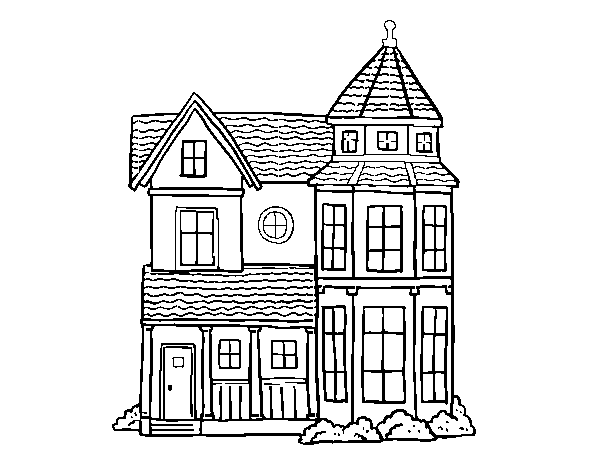 Classical manor house coloring page