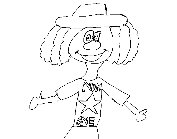 Clown number one coloring page