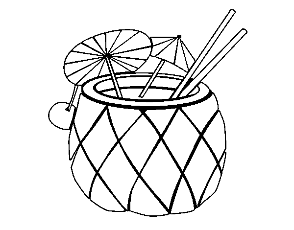 Cocktail pineapple coloring page