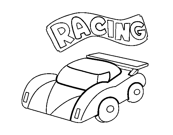 Competition car coloring page
