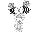 Couple of bees coloring page
