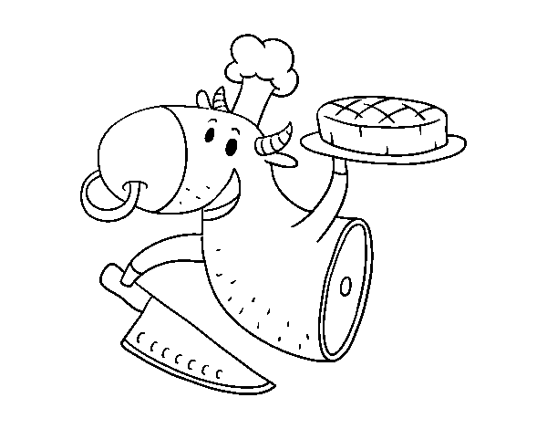 Cow meat coloring page