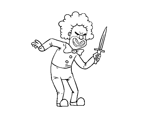 Crazy clown coloring page