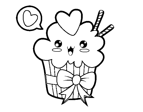 Cupcake Kawaii With Tie Coloring Page Coloringcrewcom