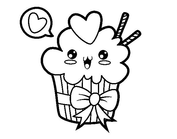 Cupcake Kawaii With Tie Coloring Page Coloringcrew Com