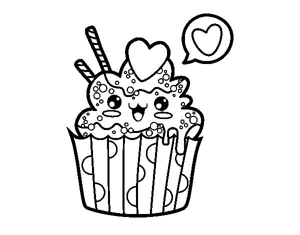 Cupcake Kawaii Coloring Page Coloringcrewcom