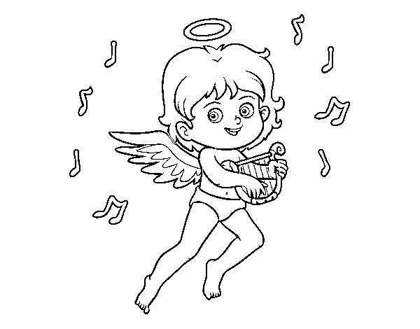 Cupid playing the harp coloring page