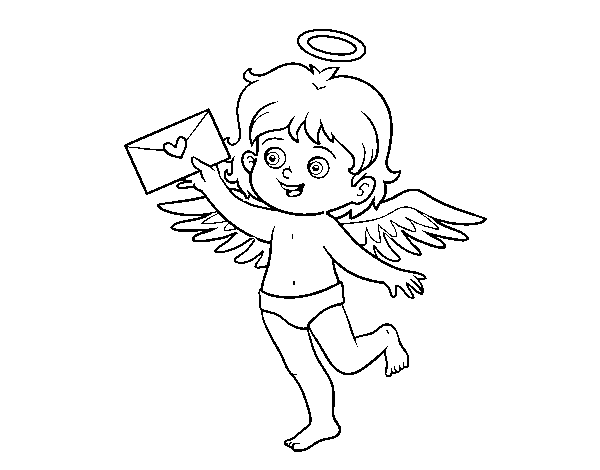 Cupid with a love letter coloring page