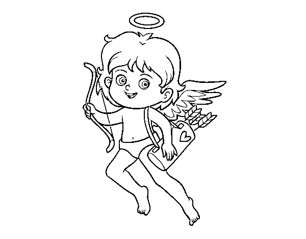 Cupid with his magic bow coloring page