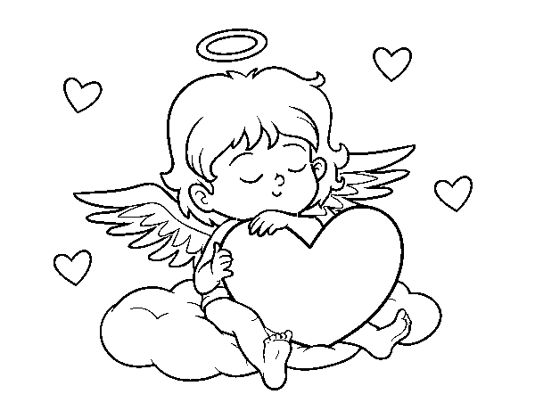 Cupid with with heart coloring page