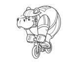 Cyclist hippopotamus coloring page