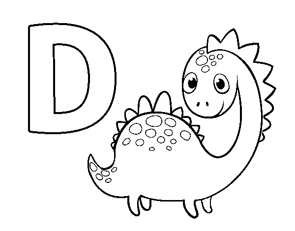 D of Dinosaur coloring page