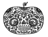 Day of the dead Pumpkin  coloring page