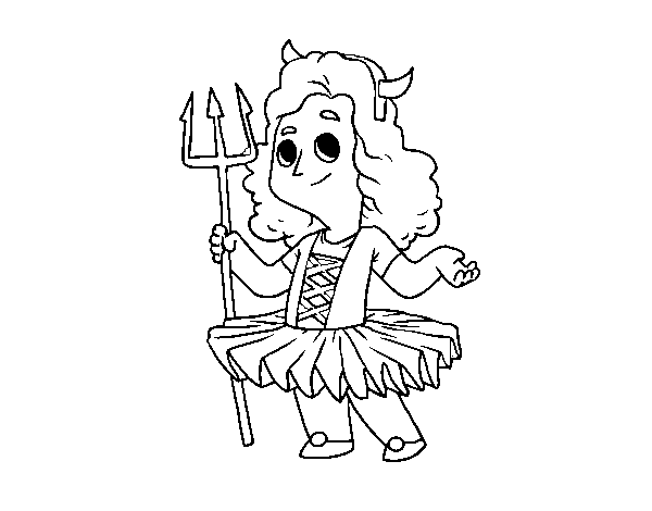 Demon little girl costume coloring page