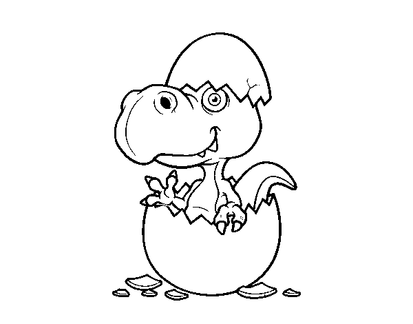 Dino emerging from egg coloring page