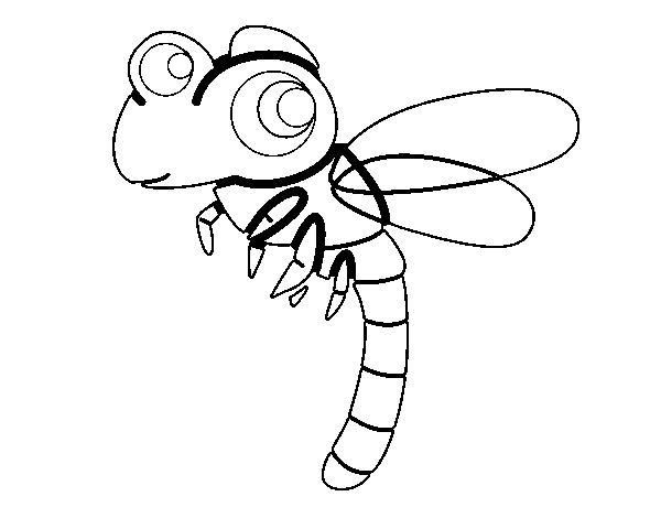 Dragonfly flying coloring page