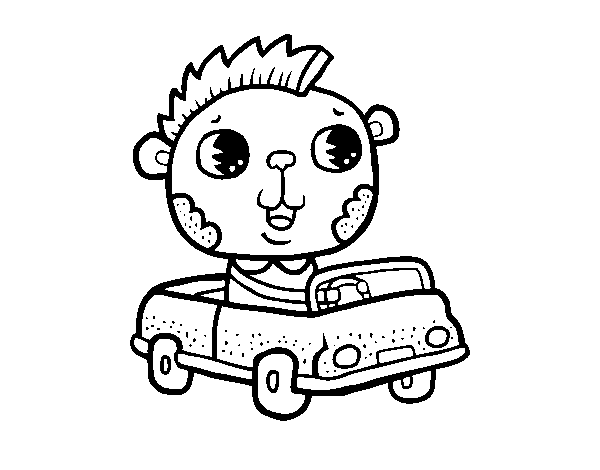 Drive a convertible coloring page