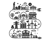 Eco City coloring page