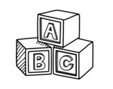 Educational cubes ABC coloring page