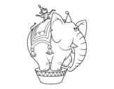 Elephant and circus monkey coloring page