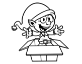 Elf going out a present coloring page