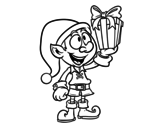Elf with present coloring page