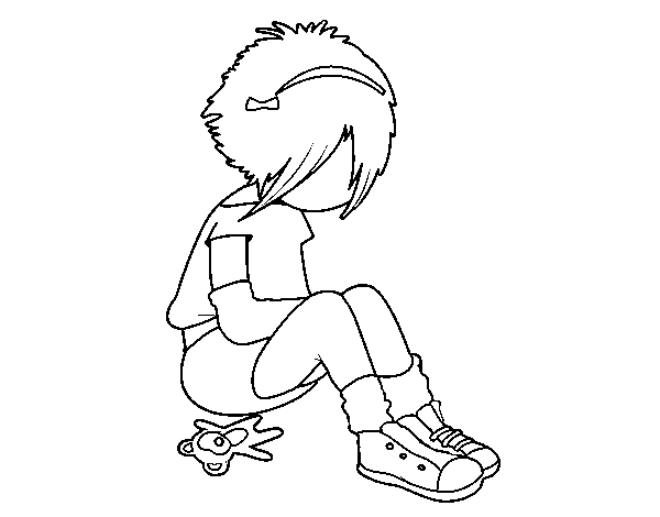 Emo girl coloring page
