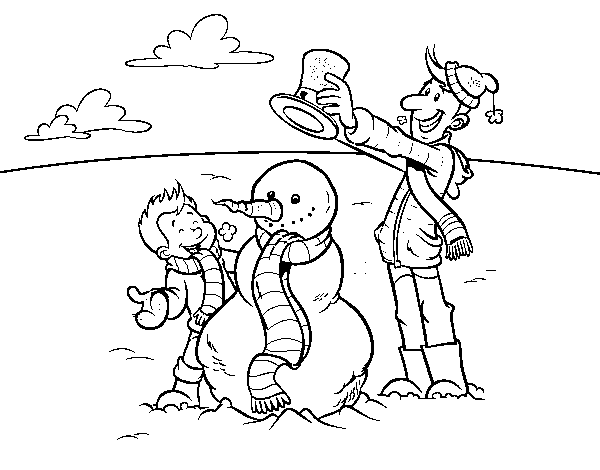 Father and son in snow coloring page - Coloringcrew.com
