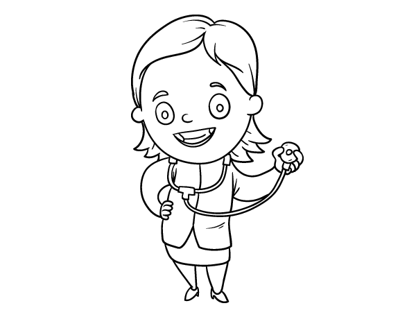 Female Doctor With Stethoscope Coloring Page Coloringcrew Com