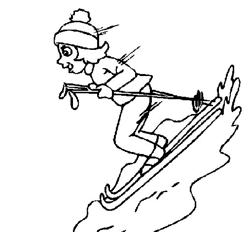 Female skier coloring page