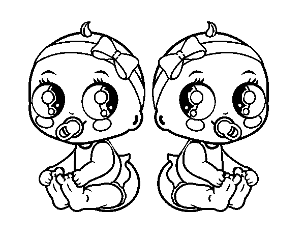 Female twins coloring page