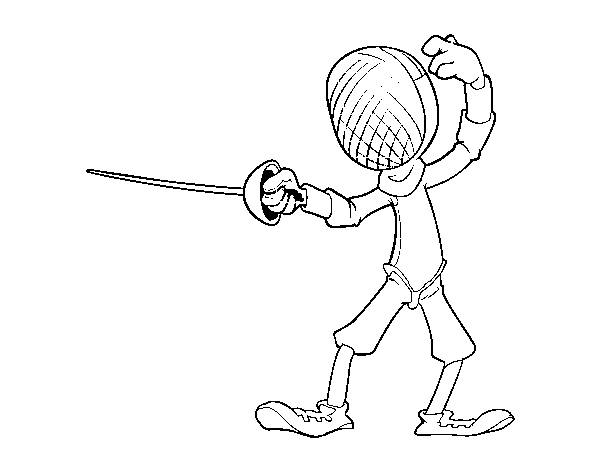 Fencing swordsman coloring page