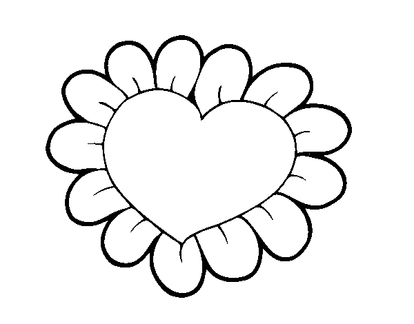 Flower heart coloring page