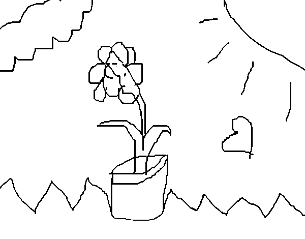 Flower in the clouds coloring page