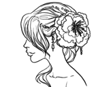 Flower wedding hairstyle coloring page