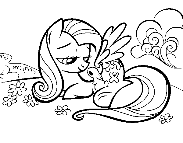 Fluttershy with a little rabbit coloring page